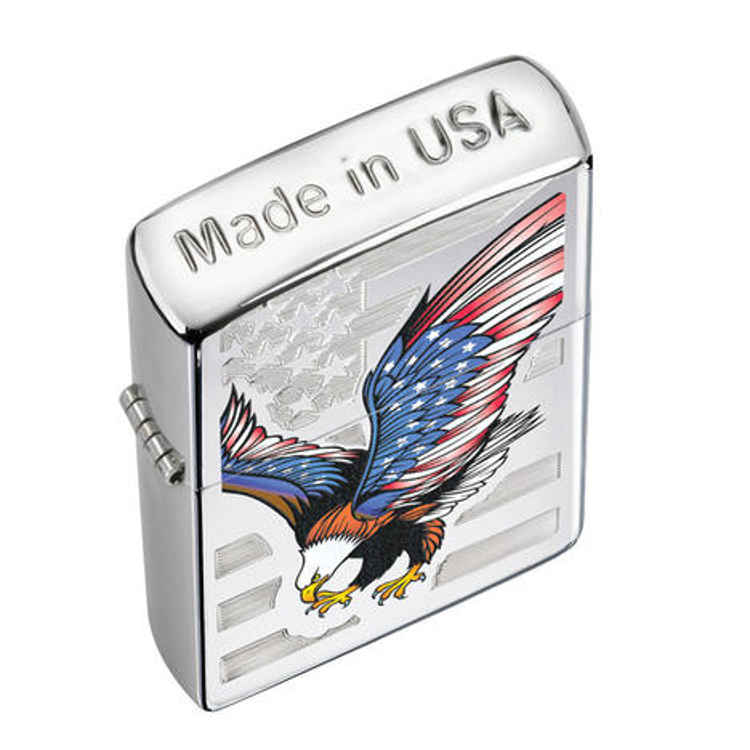 Picture of ZIPPO LIGHTER # 28449 EAGLE FLAG