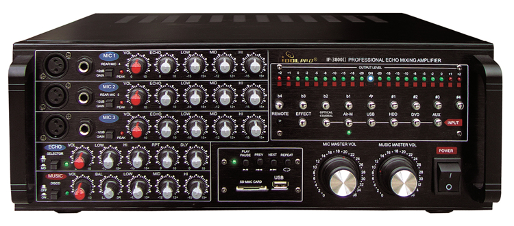 Picture of IDOLpro IP-3800 II 1300W Professional Digital Echo Mixing Amplifier With Optical Input,Separate Repeat & Delay Control NEW 2020 - Improved