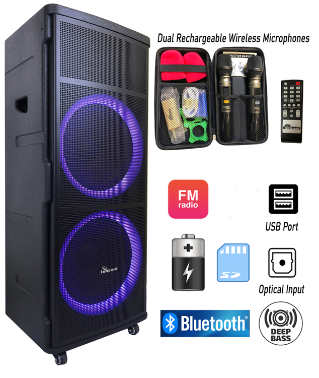 Picture of IDOlmain IPS-DJ06 Bluetooth Rechargeable Party Speaker With Optical Input, USB/SD Port, Dual Rechargeable Wireless Microphone